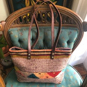 Turkish Kilim Rug Tote with Brown Leather Straps